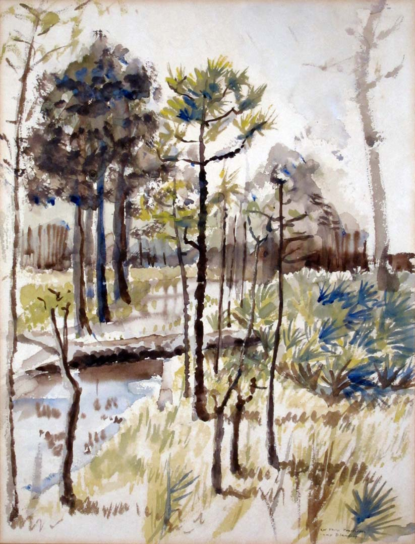 "1944 Camp Blanding Florida Watercolor 15.25"" x 11.625"""