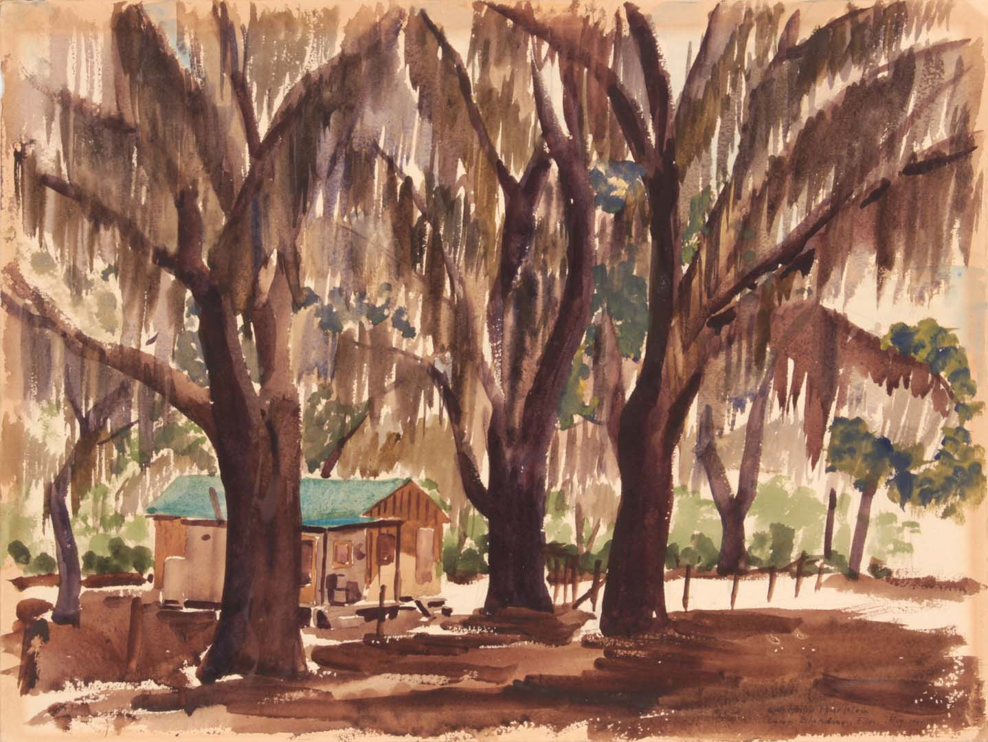 "1944 Camp Blanding Florida Watercolor on Paper 12"" x 16"""