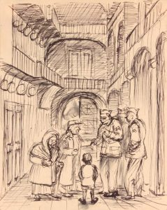 1944 Caserta Italy VI (Beggars and Soldiers) Pen and Ink on Paper 6.125 x 4.8125