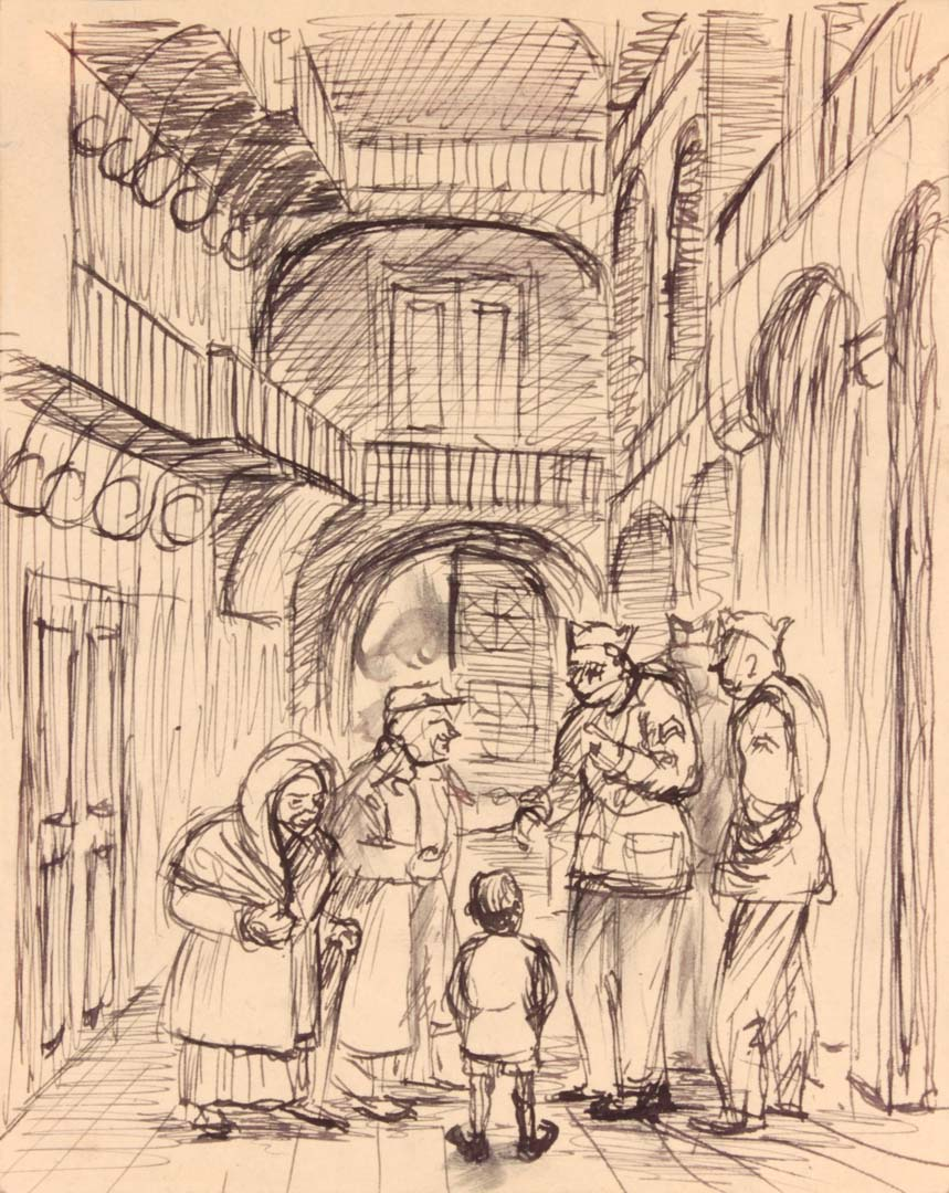 "1944 Caserta Italy VI (Beggars and Soldiers) Pen and Ink on Paper 6.125"" x 4.8125"""