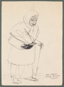 1944 Caserta Italy Old Woman Selling Religious Papers Pen and Ink on Paper 6.6875 x 4.8125