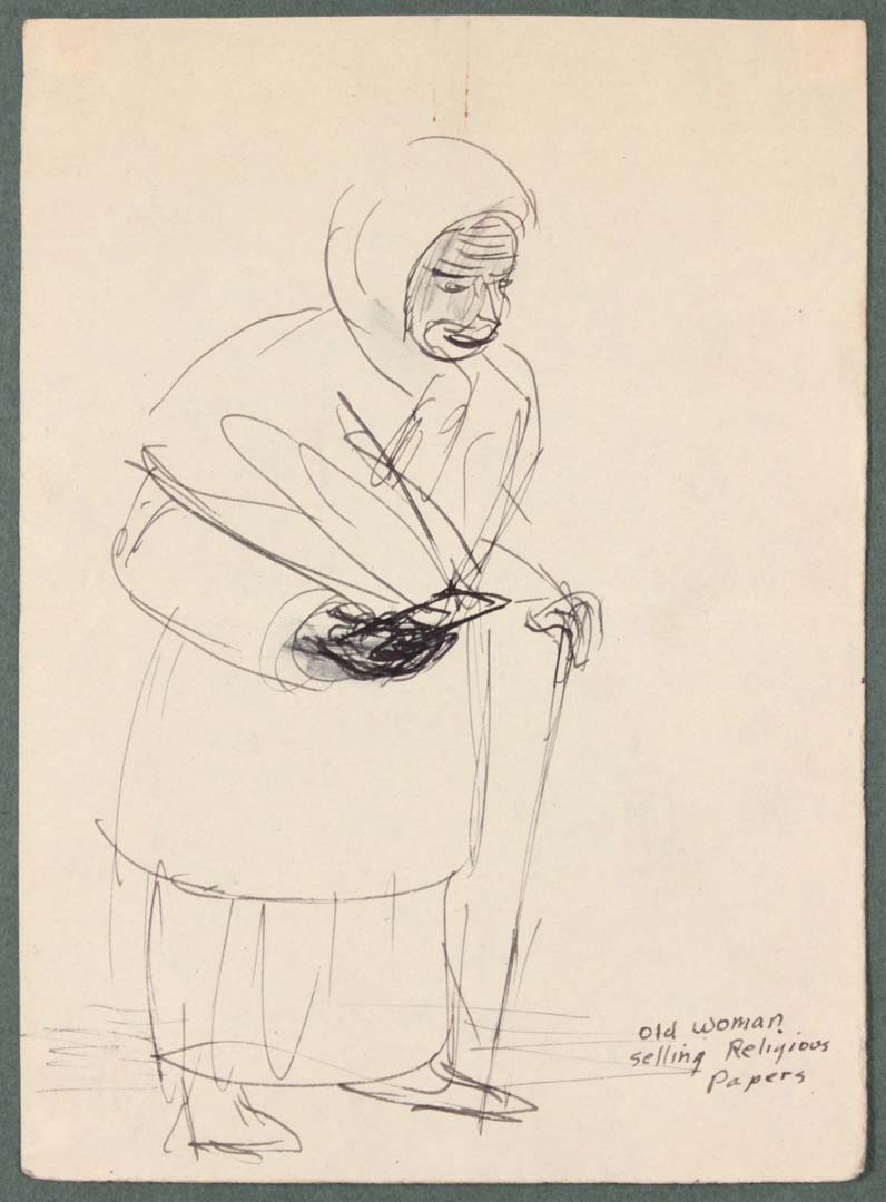 """1944 Caserta Italy Old Woman Selling Religious Papers Pen and Ink on Paper 6.6875"""" x 4.8125"""""""