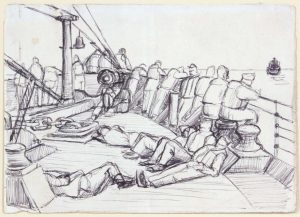 1944 Convoy to Italy III Pen and Ink on Paper 4.75 x 6.625