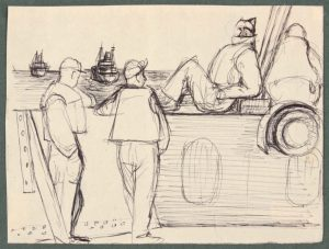 1944 Convoy to Italy X Pen and Ink on Paper 4.6875 x 6.1875