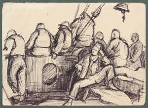 1944 Convoy to Italy XI Pen and Ink on Paper 4.8125 x 6.6875