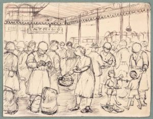 1944 NT (Food Basket Naples Italy) Pen and Ink on Paper 4.8125 x 6.125