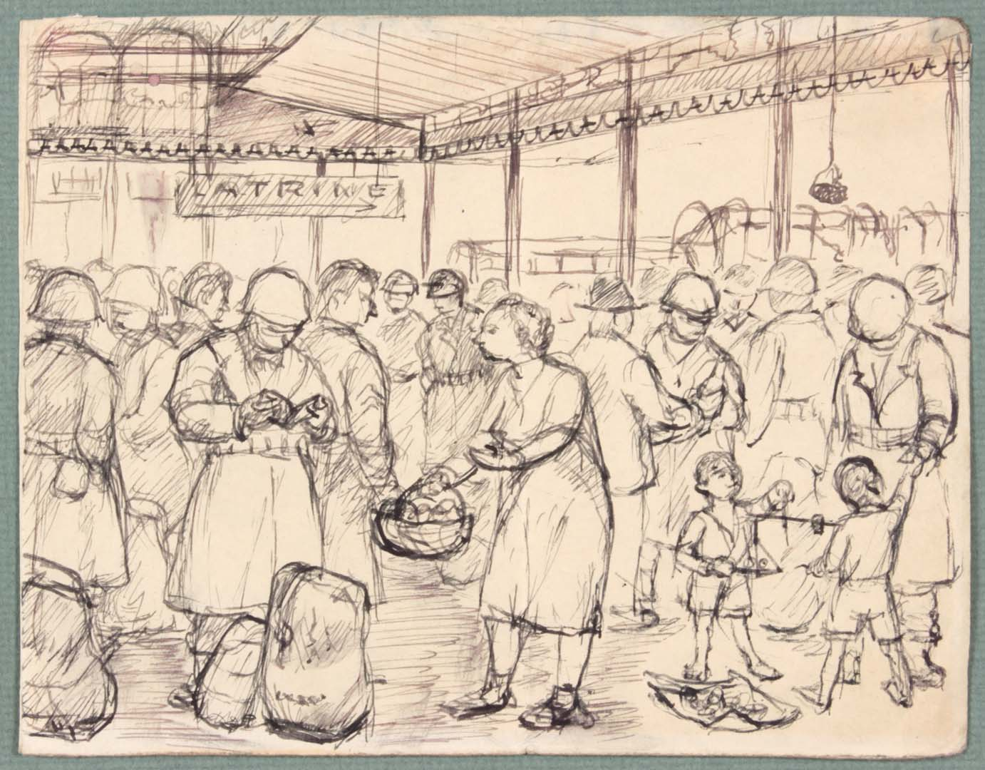 "1944 NT (Food Basket Naples Italy) Pen and Ink on Paper 4.8125"" x 6.125"""