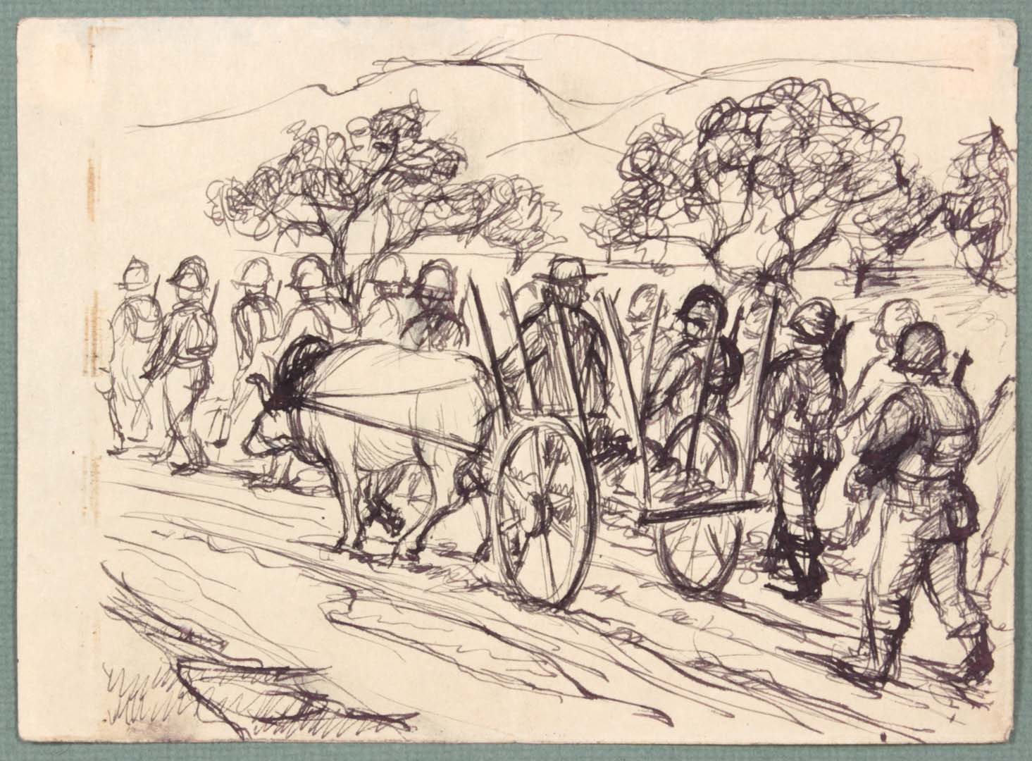 1944 NT (Ox Cart Caserta Italy) Pen and Ink on Paper 4.8125 x 6.125