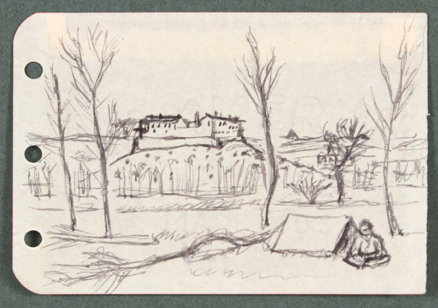 """1944 Rome Italy IX Pen and Ink on Paper 2.50"""" x 3.6875"""""""