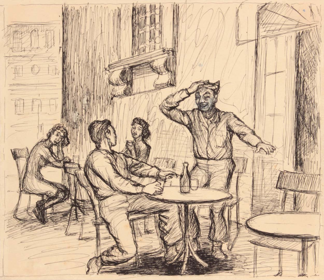 "1944 Rome Italy VII (Tables Outside) Pen and Ink on Paper 9.125"" x 10.50"""