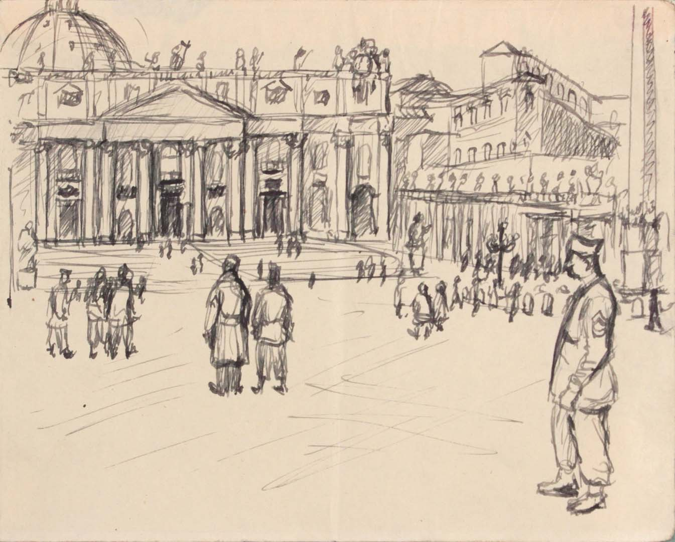 1944 Rome Italy XI Pen and Ink on Paper 4.8125 x 6.0625