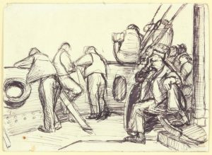 1944 Summer Convoy to Italy XIV Pen and Ink on Paper 4.75 x 6.625
