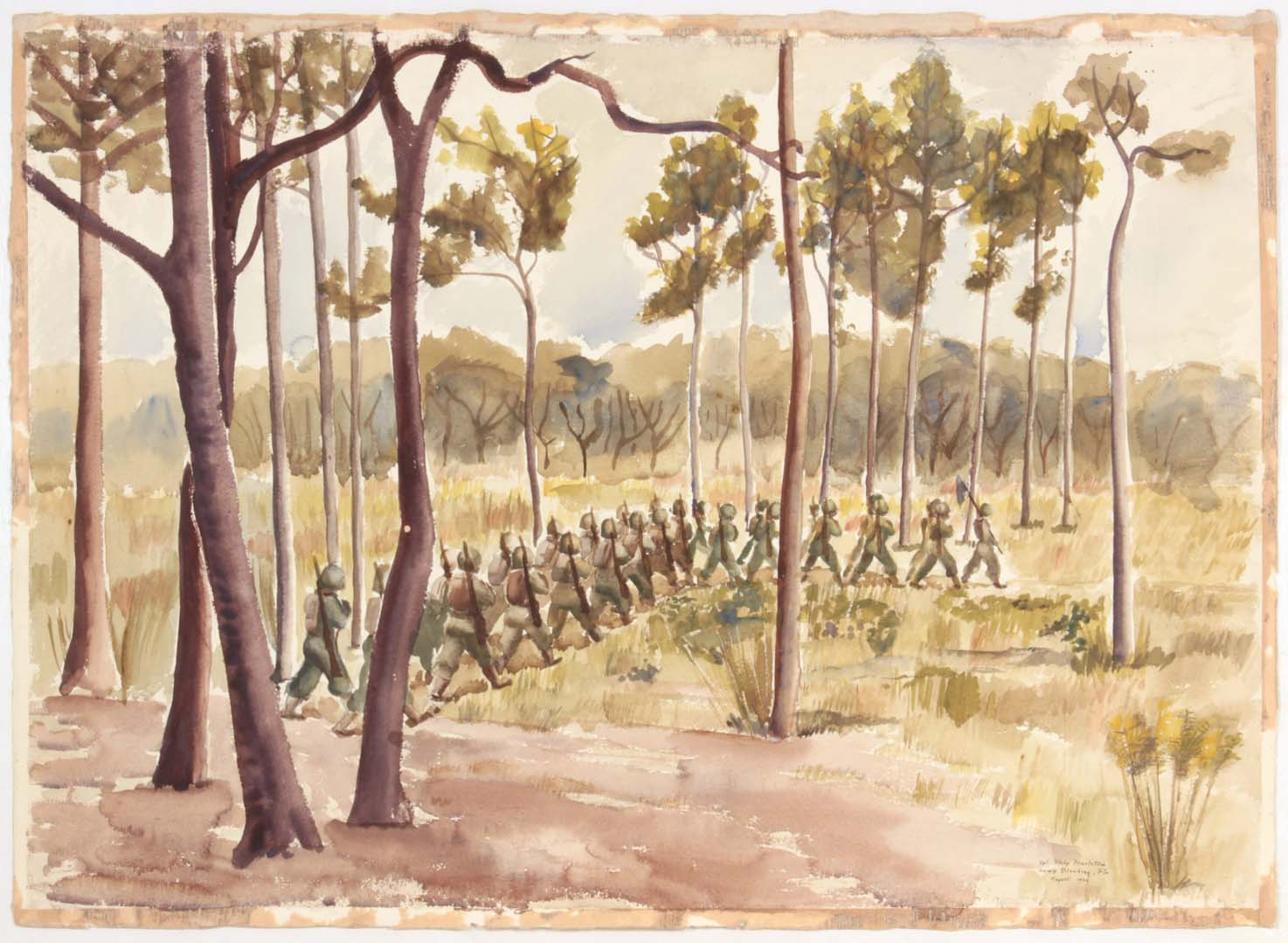 "1944 Training in Florida Camp Blanding Fla (Soldiers Marching among Trees) Watercolor on Paper 23"" x 31"""