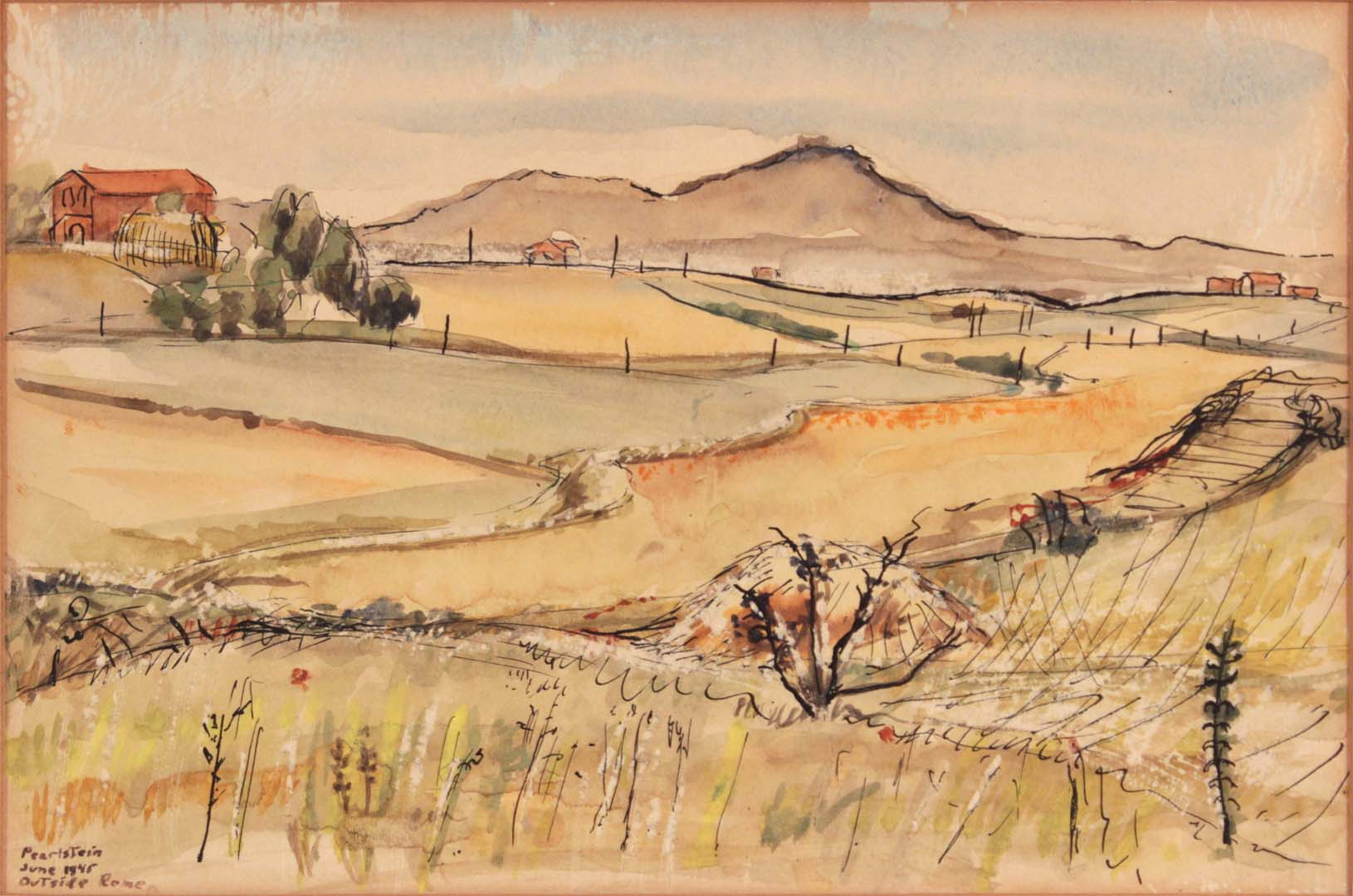 1946 Outside Rome Italy Pen and Ink on Paper 5.75 x 8.6875