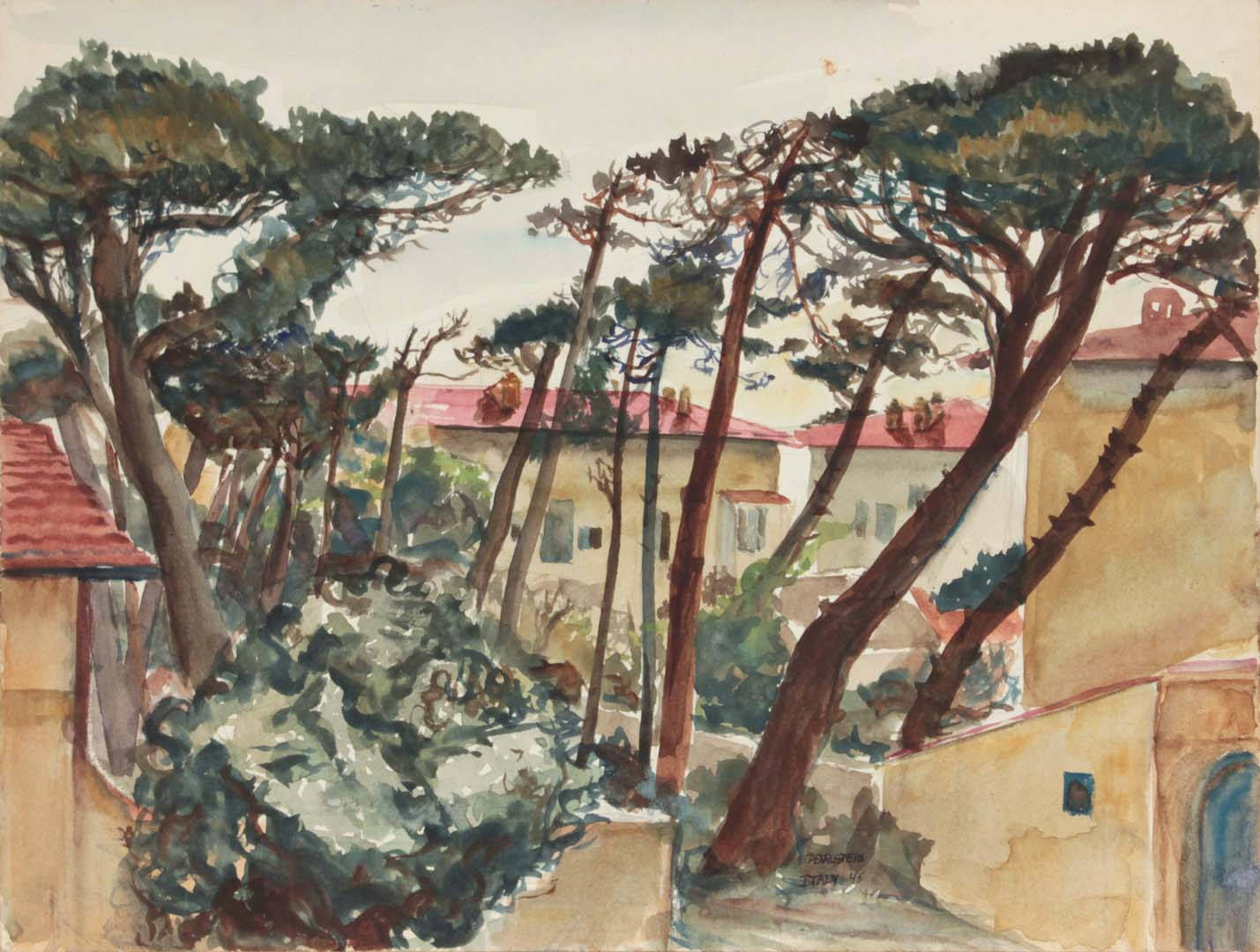 "1945 Marina Di Pisa III Watercolor 9"" x 11.875"""