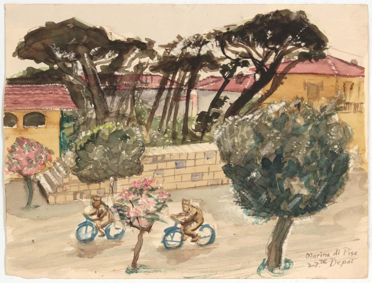"1945 Marina Di Pisa IV 27th Depot Watercolor 6.9375"" x 9.125"""