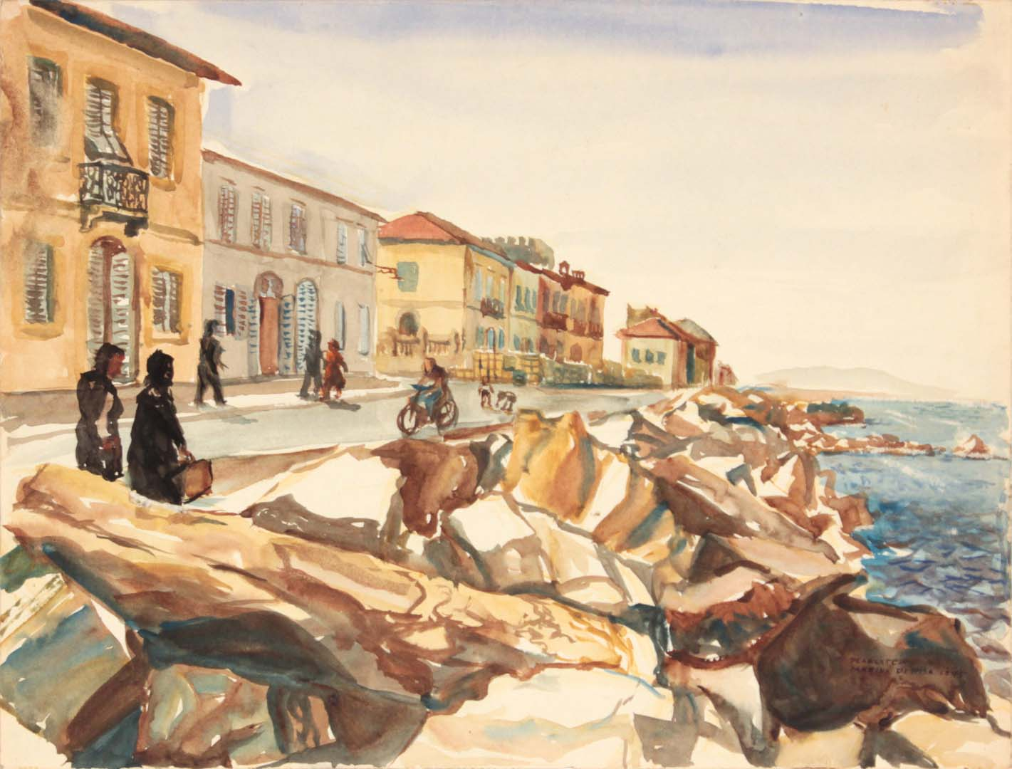 "1945 Marina di Pisa I Watercolor 9"" x 11.875"""