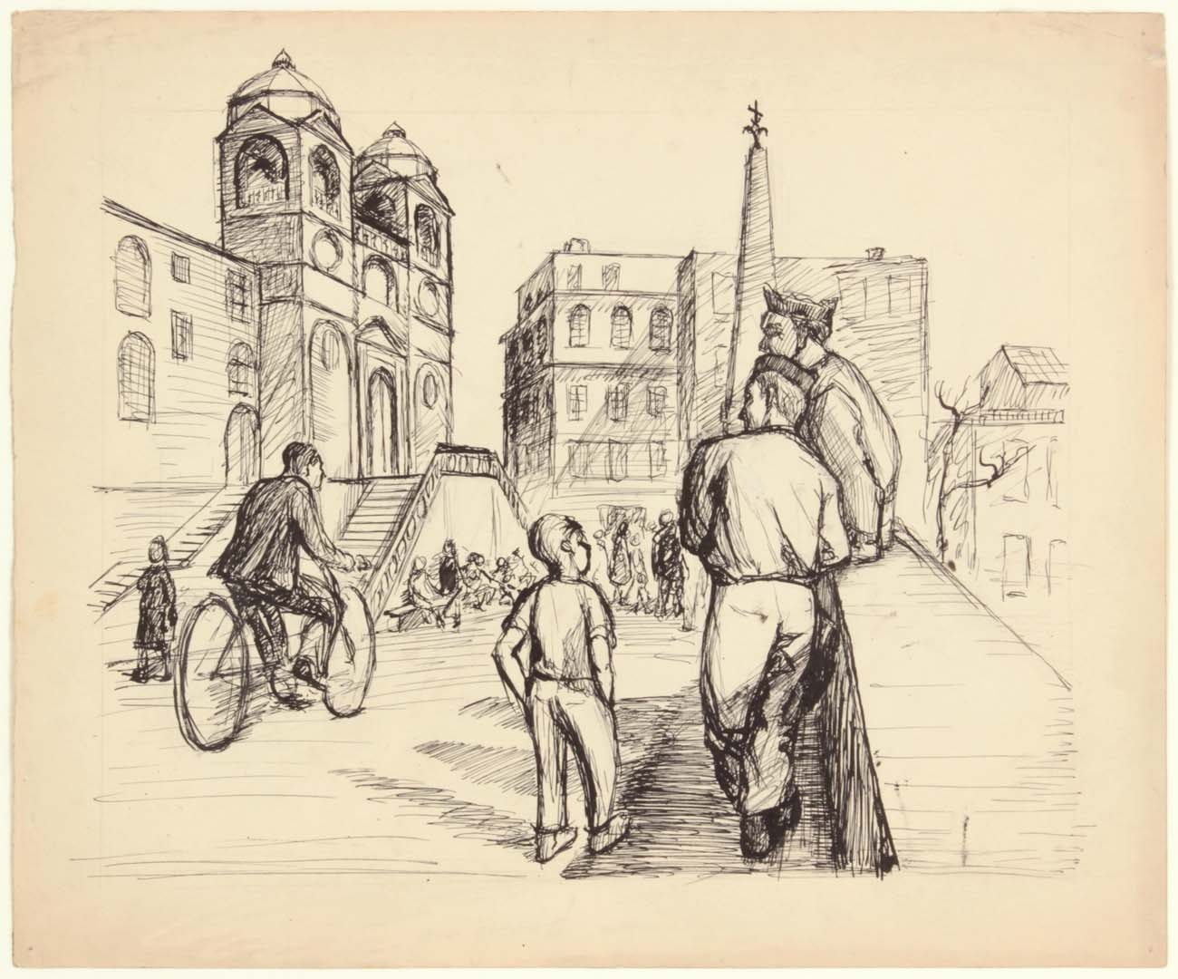 """1945 Soldiers in Rome (Spanish Steps) Pen and Ink on Paper 10"""" x 12"""""""