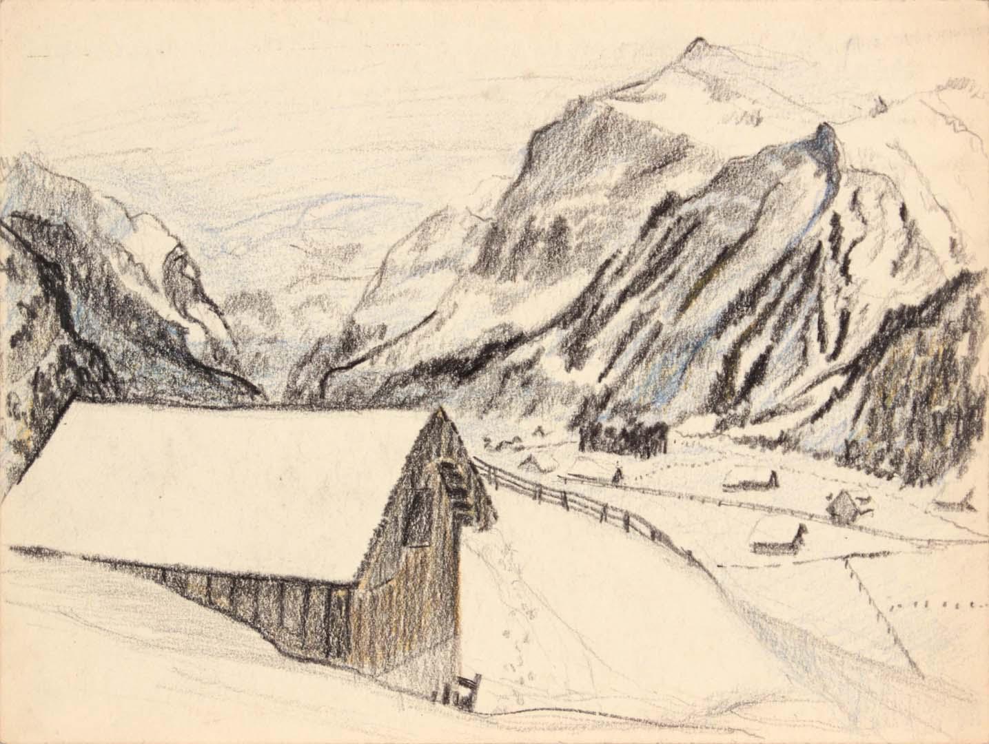 "1945 Switzerland I Crayon 9"" x 11.875"""