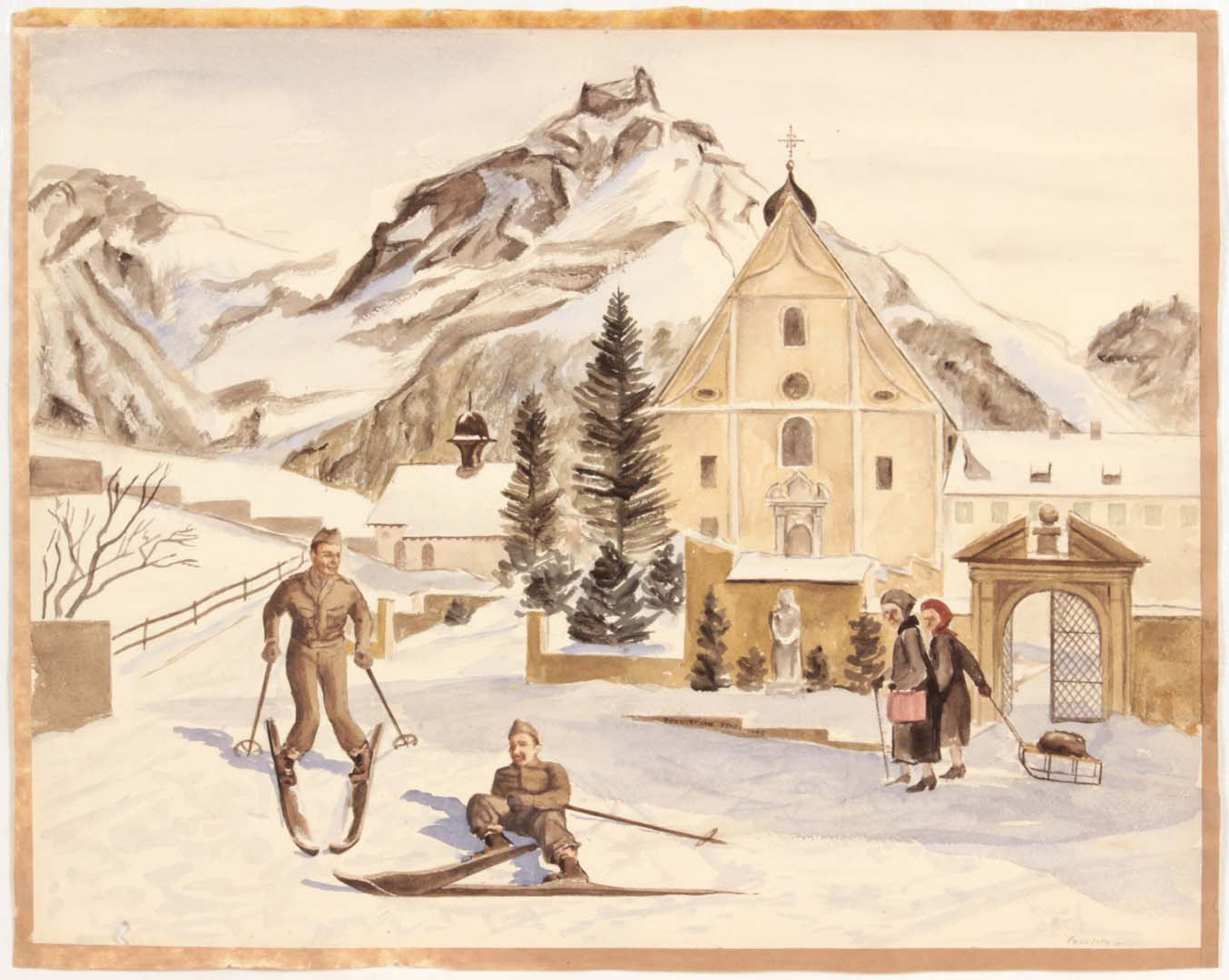 1946 Alpine Village (Switzerland Soldiers Skiing) Watercolor on Paper 15.1875 x 19