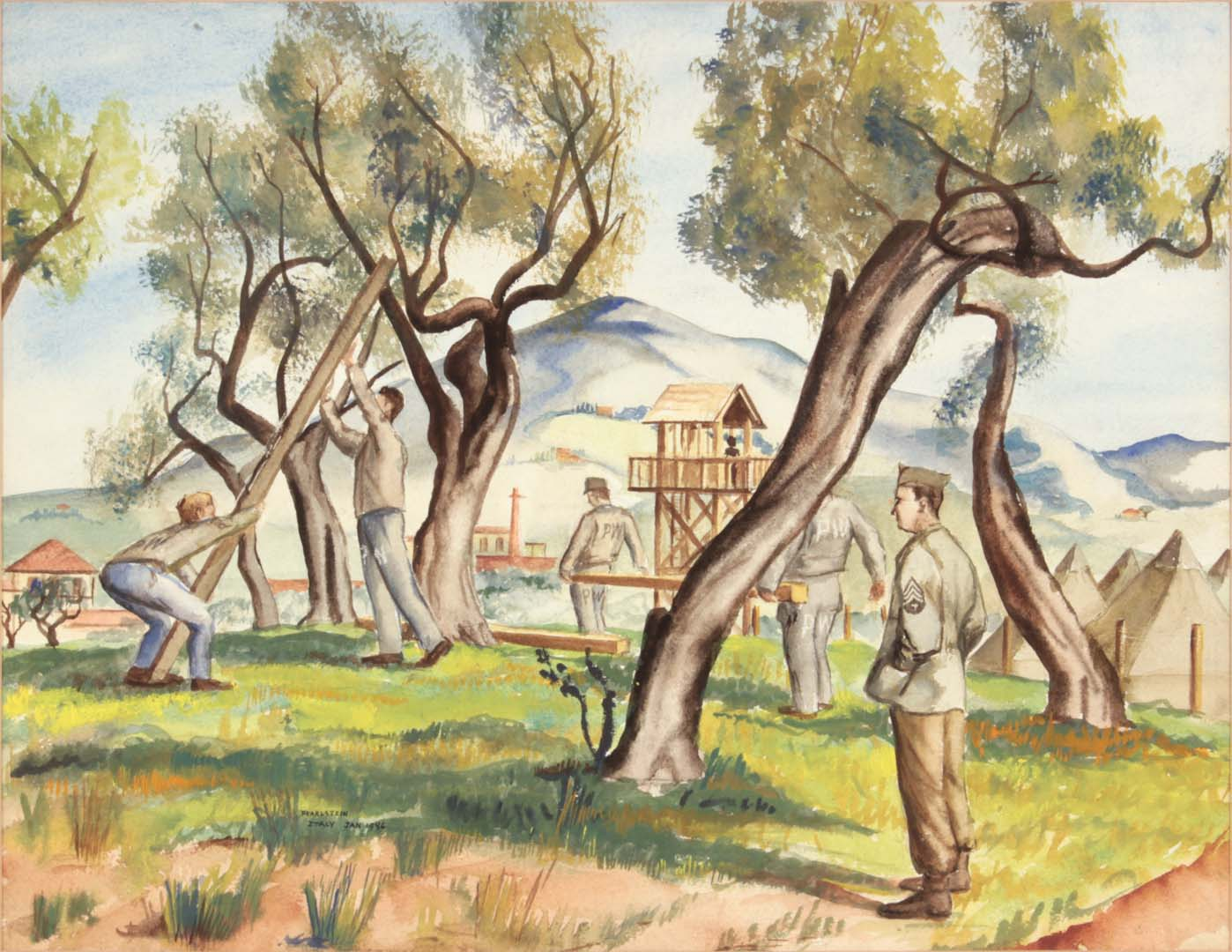 1946 Livorno Italy (Soldiers and PW Building Camp) Watercolor on Paper 13.50 x 17.50