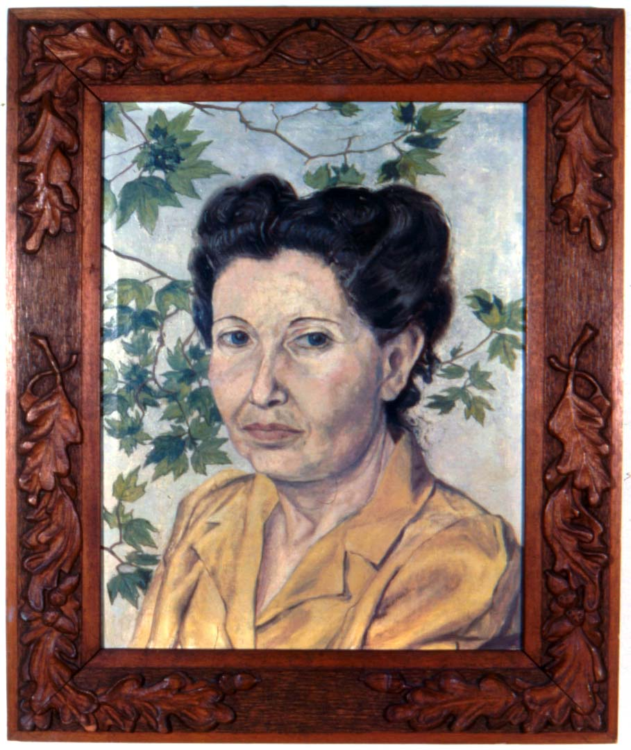 "1946 Portrait of Artist's Mother oil 17"" x 13"""