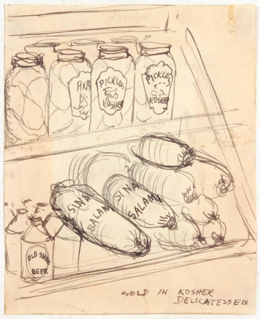 """1948 Sold In Kosher Delicatessen Pen and Ink on Paper 4.1875"""" x 3.375"""""""
