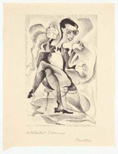 1948 Intellectual Discourse Lithograph 7.50 x 6