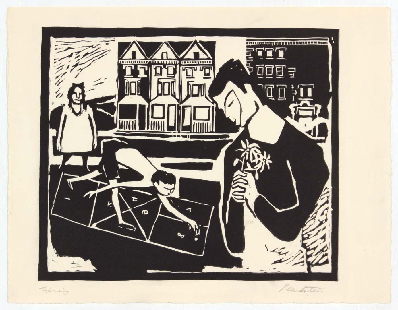 """1948 Spring Linoleum Cut 8.75"""" x 11.50"""""""