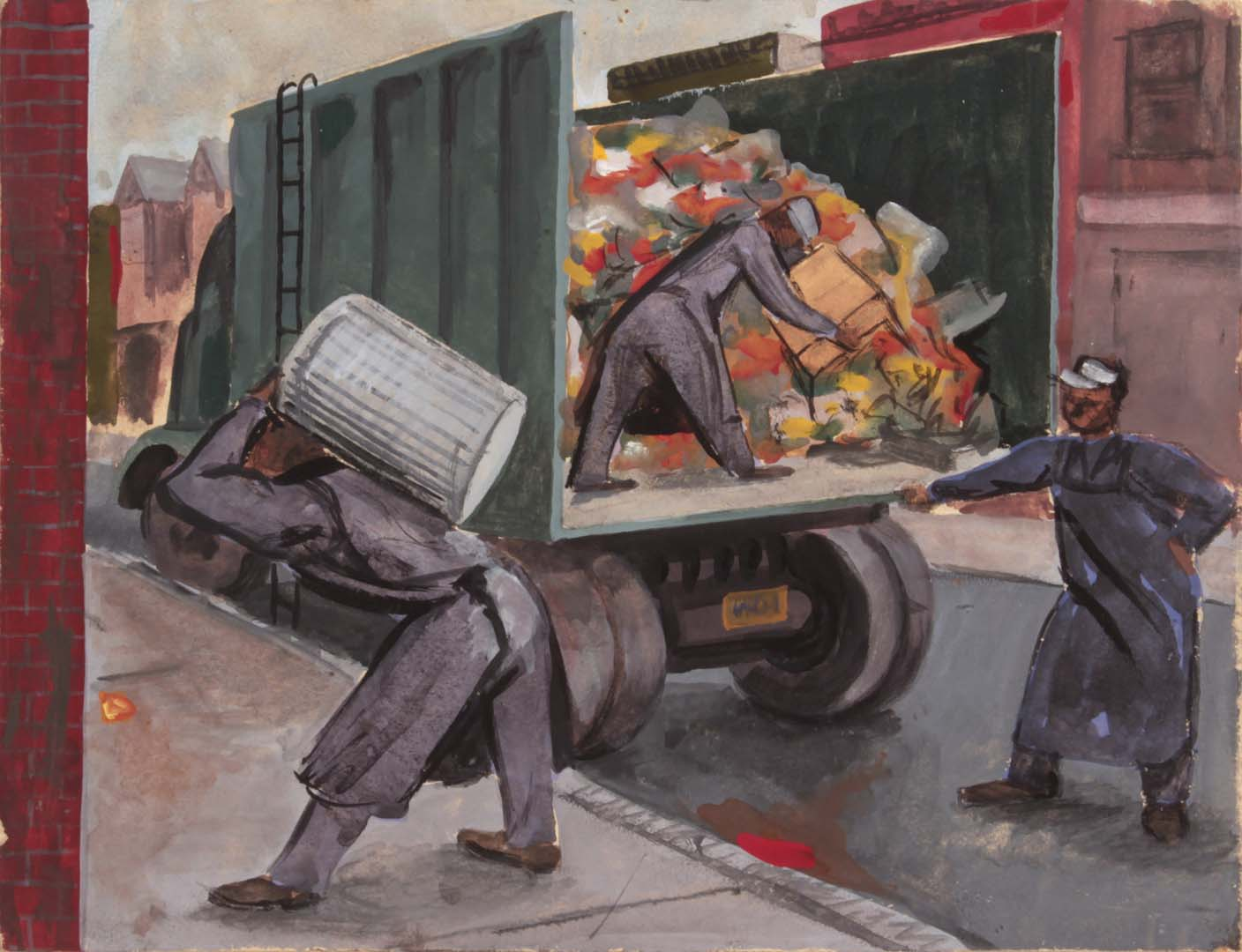 1948 NT (Garbage Collectors) Casein on Paperboard 8.75 x 11.50