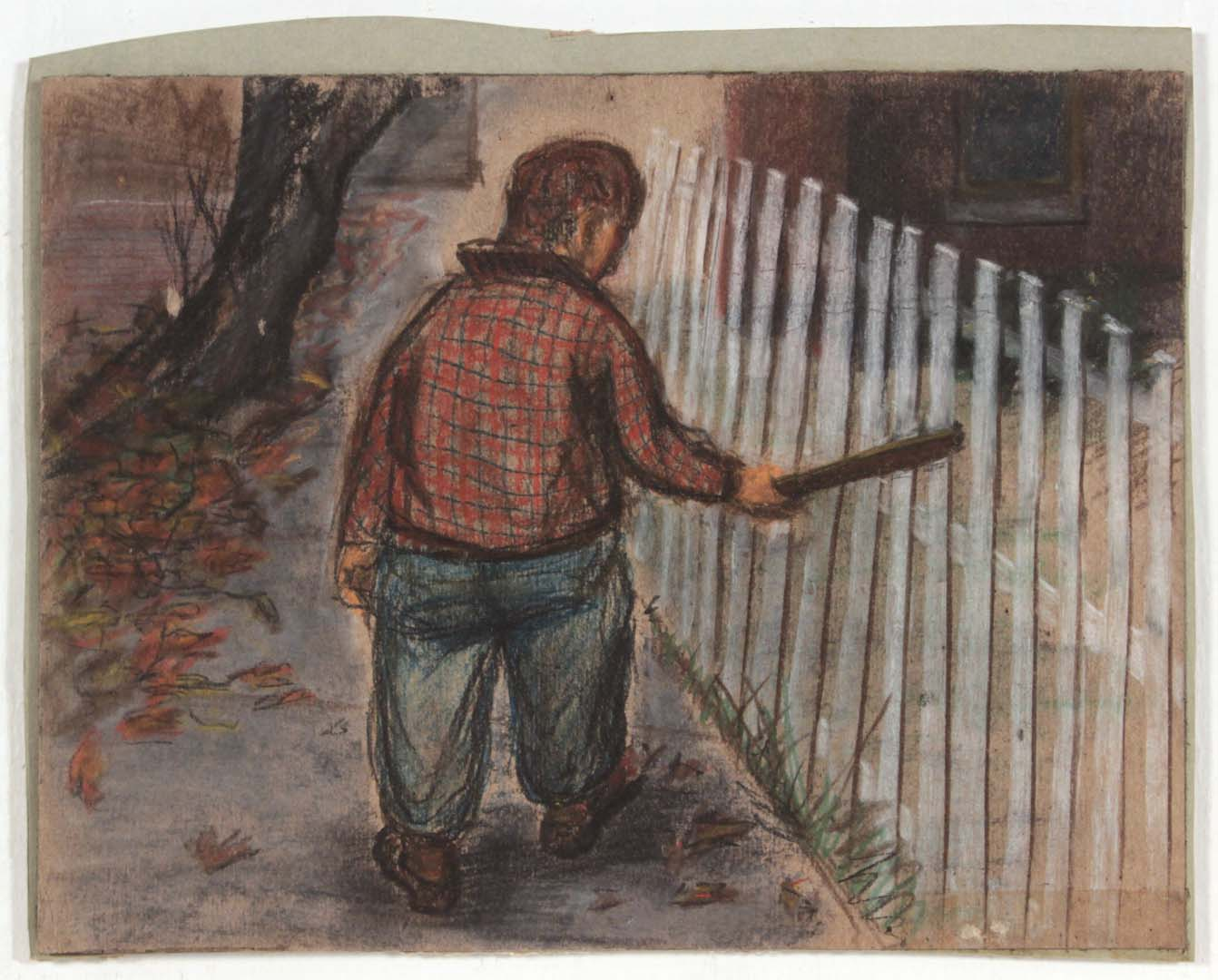 "1948 Picket Fence Casein and Charcoal on Paper 8.5"" x 11"""