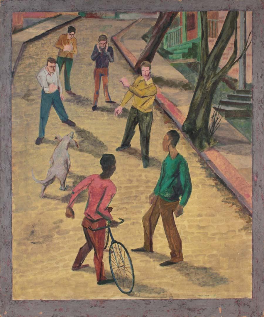 "1948 Street Fight Casein on Board 30"" x 25"""