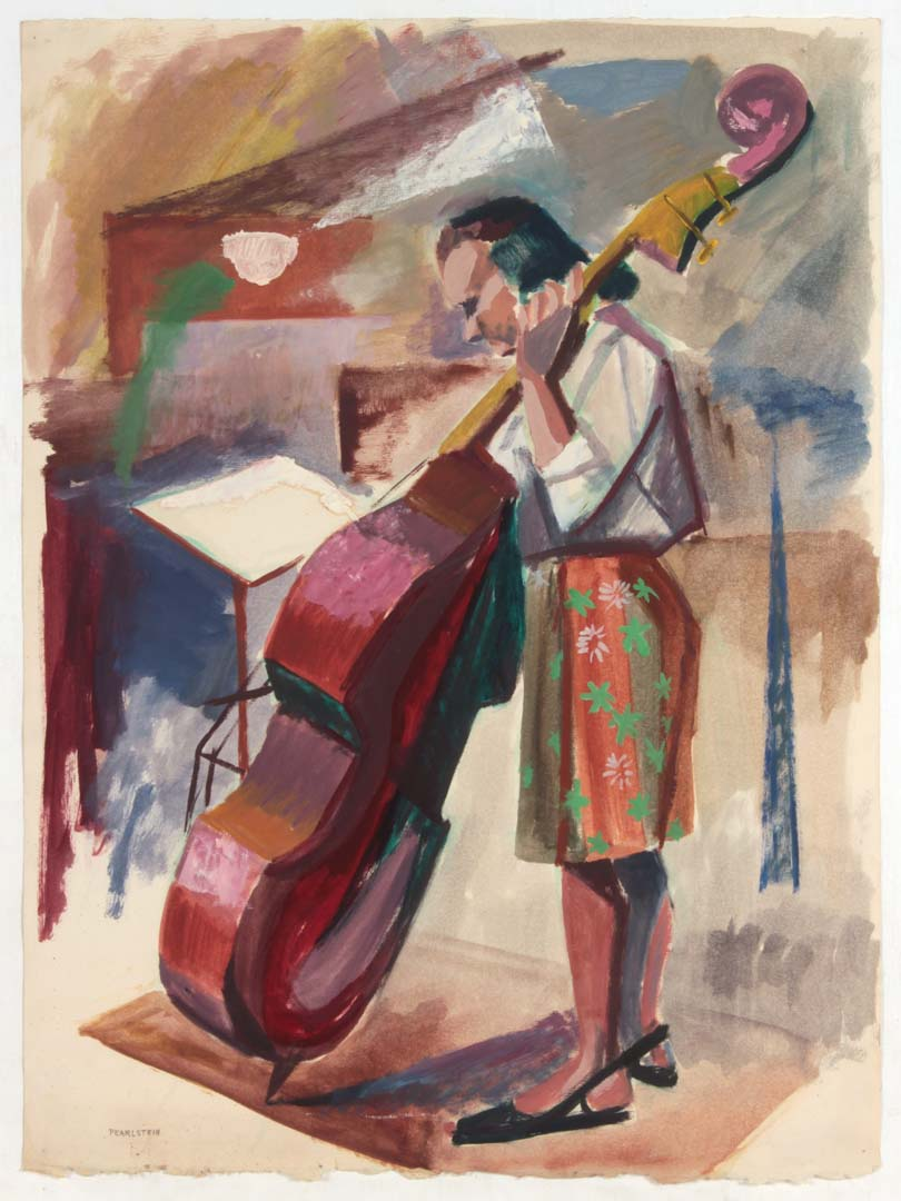 "1948 Upright Bass Player Oil on Paper 25.25"" x 19.125"""