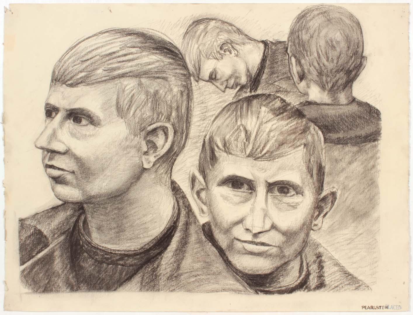 "1947 NT (Portrait Studies 4 Heads) Charcoal on Paper 19"" x 25"""