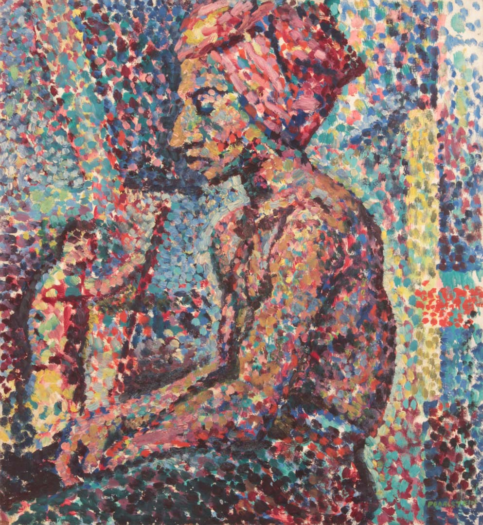 "1947 Seated Model in Pointillist Style Oil on masonite 20"" x 18.25"""