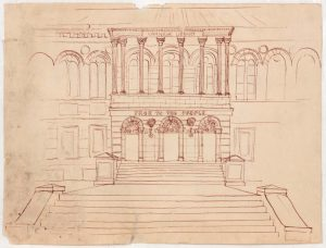 1949 Carnegie Library Pen and Ink on Paper 9.0625 x 12