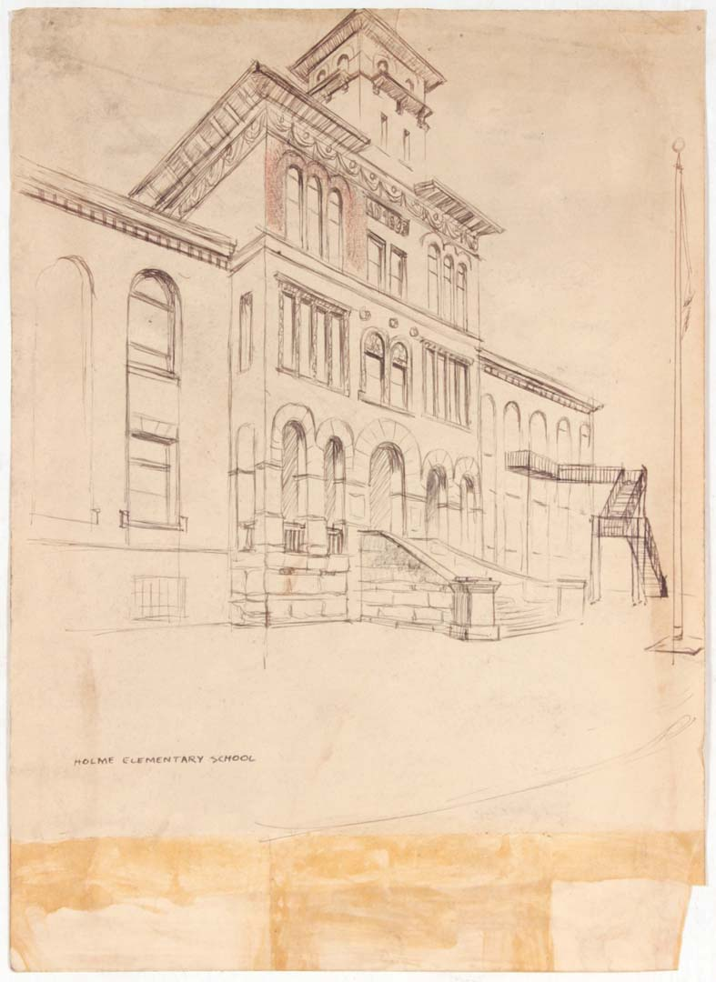 "1949 Holme Elementary School Graphite on Paper 13.625"" x 9.875"""
