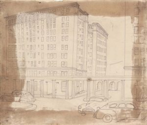 1949 NT (Cityscape with Cars and Dorian Columns) Graphite on Paper 7.75 x 9.125