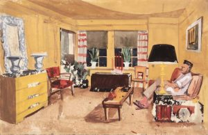 1949 NT (Dwelling Spaces Living Room 1 Striped Curtains) Casein and Graphite on Paper 7.375 x 11.50
