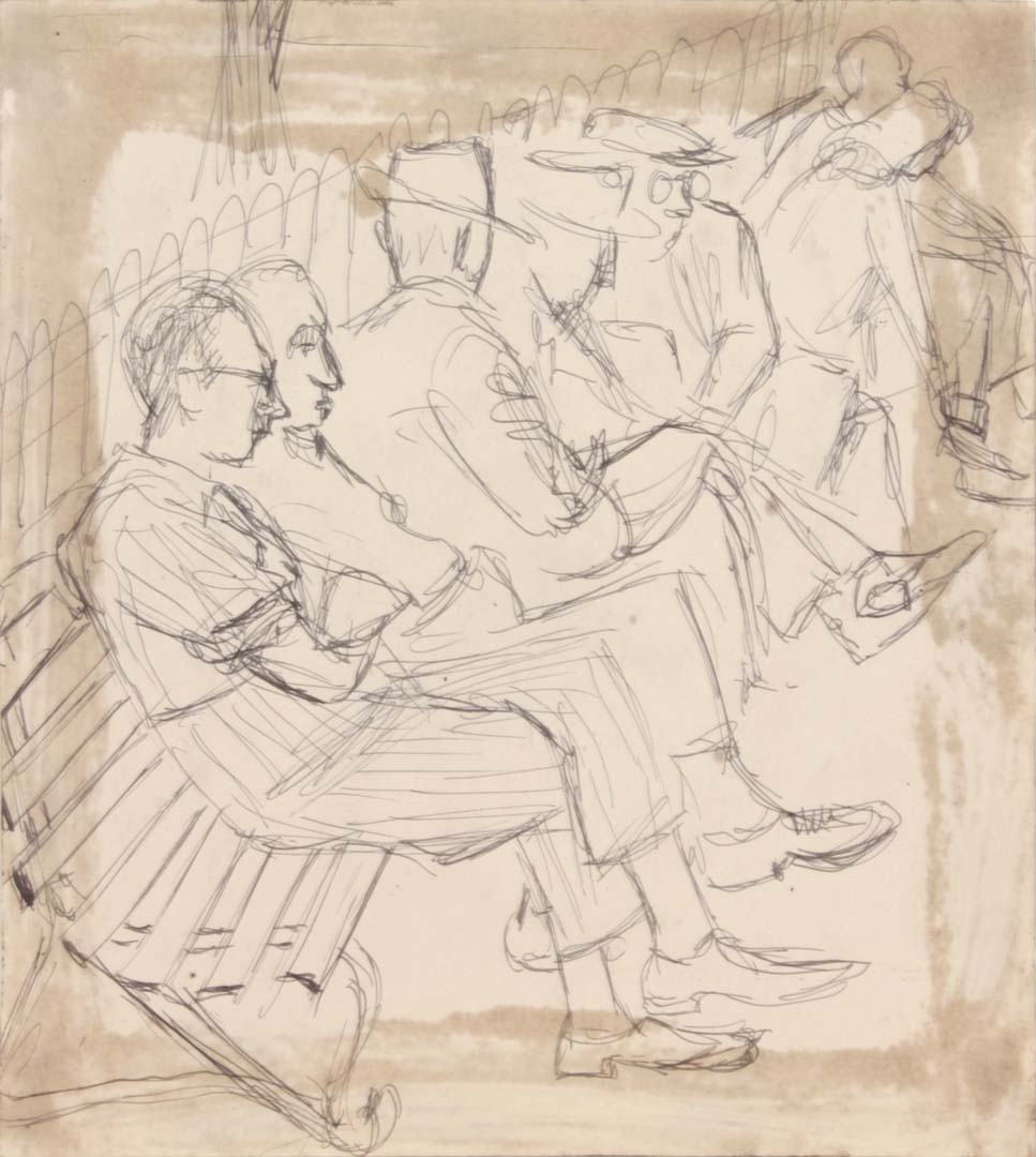 1949 NT (People on a Park Bench) Pen and Ink on Paper 8.25 x 7.50