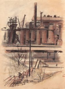 1949 Pittsburgh (Factory and Steps Up Hill) Graphite and Wash on Paper 13.625 x 9.875