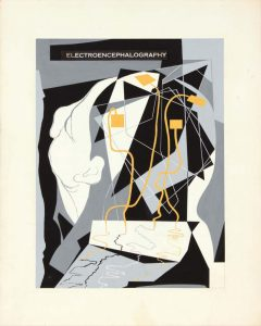 1949 Electroencephalography Poster Paint on Paper 15 x 12