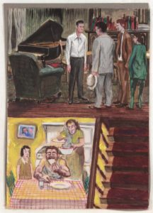 1948-49c, Illustration, Piano Player and Neighbour Supper, Casein on Paperboard,11.75x8.50