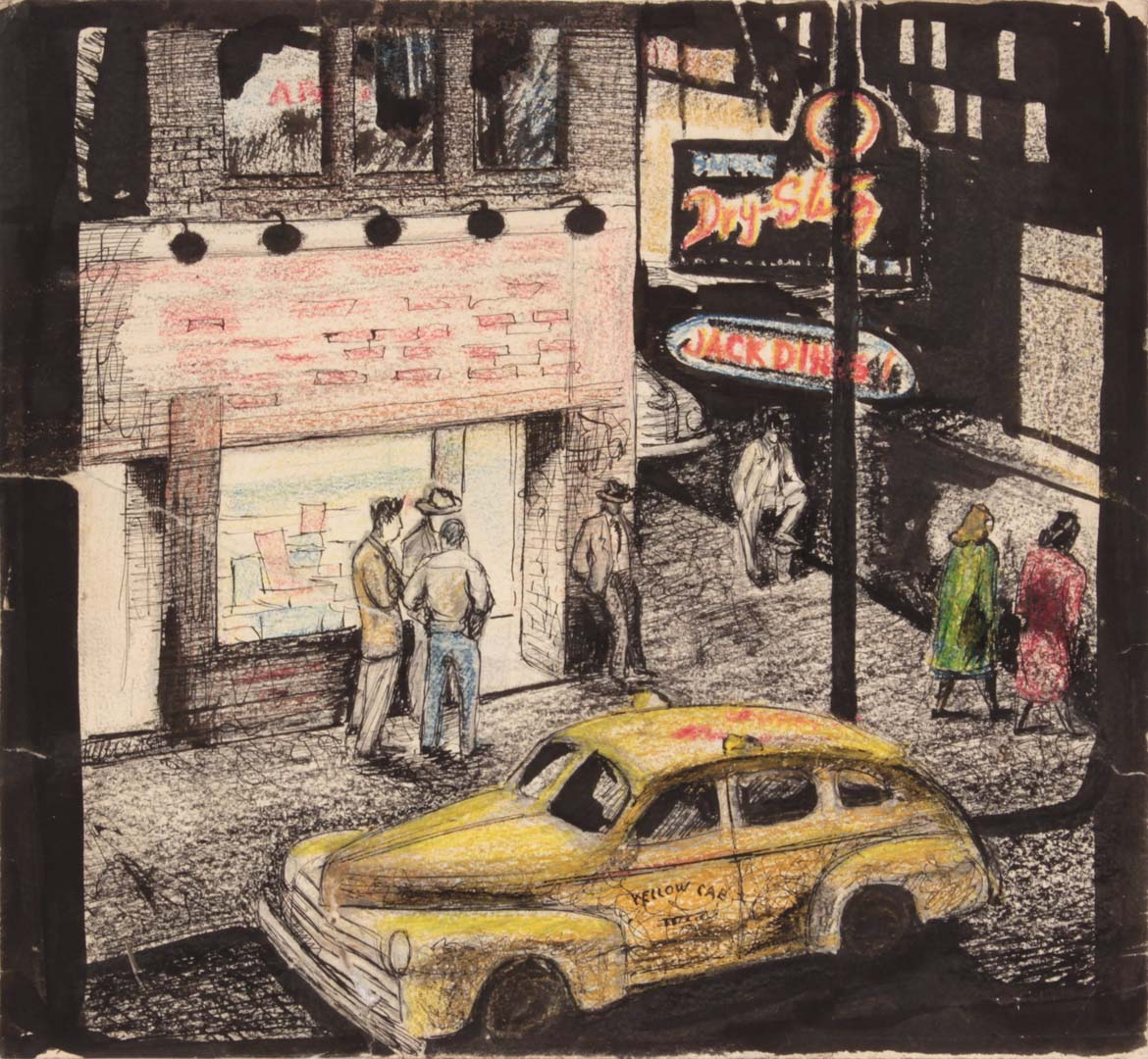"1949 NT (Jack Diner) Mixed Media on Paper 8.875"" x 9.625"""