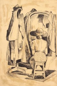 1949 NT (Seated Lady with Mirror and Coat Hanger) Pen and Ink on Paper 14.875 x 9.875