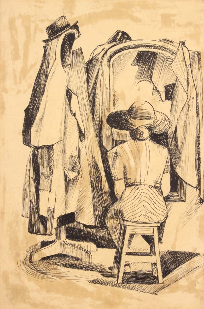 "1949 NT (Seated Lady with Mirror and Coat Hanger) Pen and Ink on Paper 14.875"" x 9.875"""
