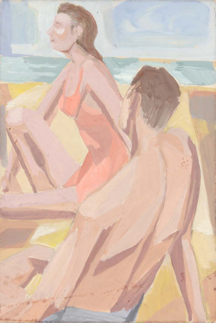 "1949 Two Nudes on a Beach (Melanctha by Gertrude Stein) Casein on Paper Board 10"" x 6.75"""