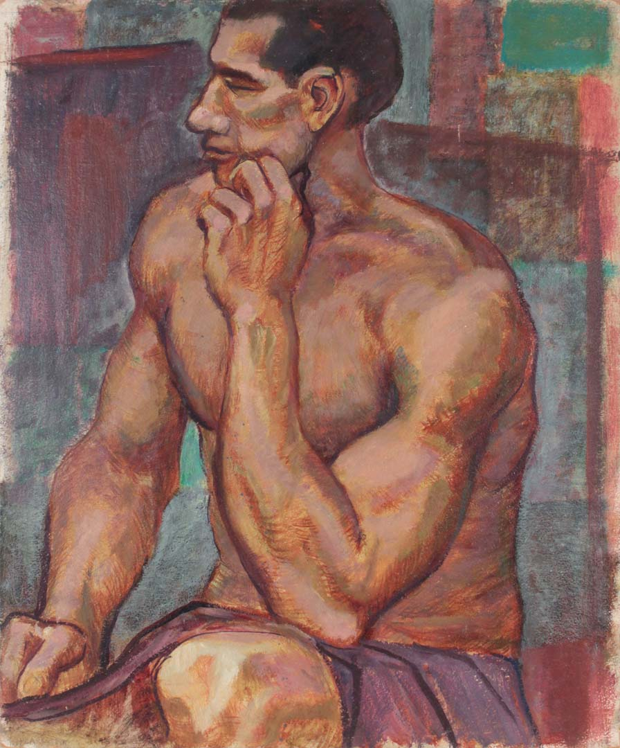 "1948 Seated Model Casein on Board 24"" x 20"""