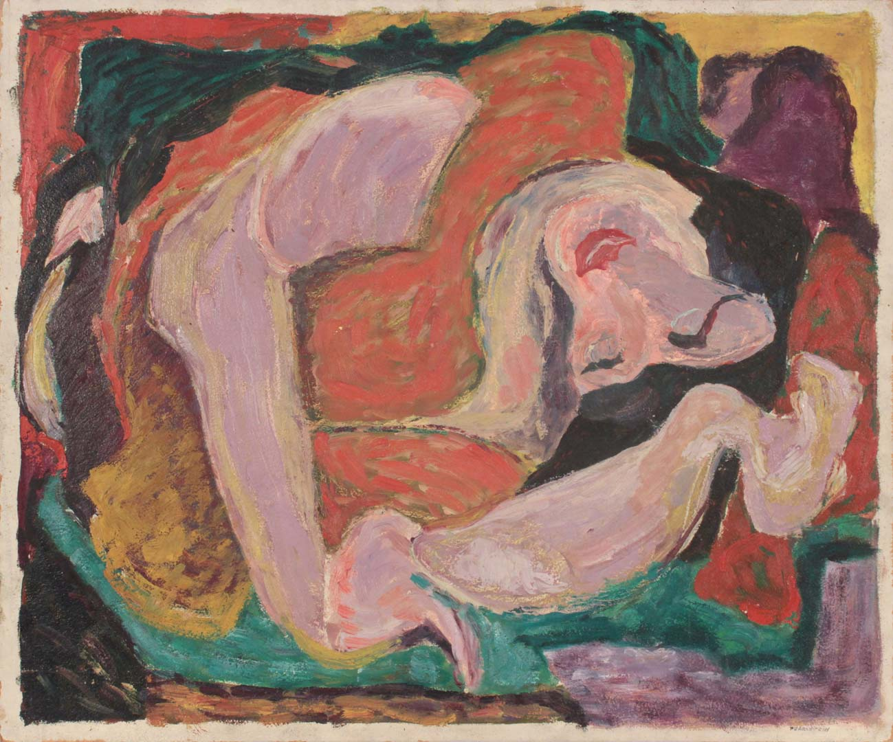 "1948 Sleeping Woman Oil on Board 20"" x 24"""