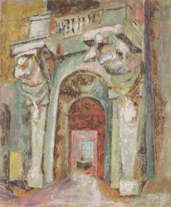 1949 Office Entrance Casein Tempera on Board 30 x 25